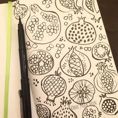 My brush pen ran out half way through - pomegranate play #ohnmarwin #calledtobecreative #creativityfound…