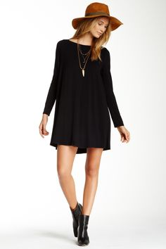 love the dress and hat! Long Sleeve Boatneck Dress by Go Couture on @nordstrom_rack