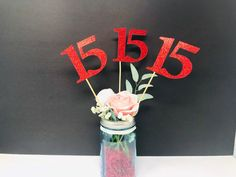 Excited to share this item from my #etsy shop: Birthday Centerpiece, 15th Anniversary, 15th Celebration, 15th Birthday,  Quinceañera, Class Reunion, class of 2010, Quince Años Numero Graduation Party Centerpieces, Graduation Cake Toppers, Graduation Decorations, Birthday Decorations, Class Reunion Decorations, 35th Birthday, 35th Anniversary, Glitter Cardstock, Sticks