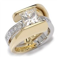 Nautilus Collection - 2.04ct Princess Cut Diamond accented by Diamonds set in 18K Yellow Gold and Platinum.