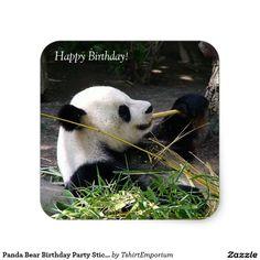 Panda Bear Birthday Party Stickers