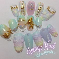 Instagram (381729) Kawaii Nail Art, Cute Nail Art, Love Nails, Pretty Nails, Japan Nail Art, Nail Picking, Japanese Nail Design, Sea Nails, Nail Jewels