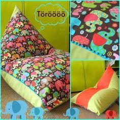 KINDER SITZSACK HAPPY ELEFANT von Donnalupinas Textilwerkstatt auf DaWanda.com