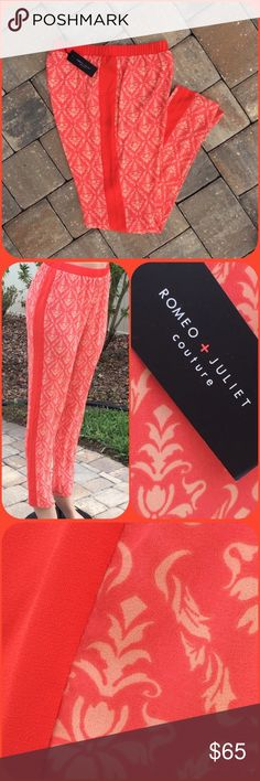 Romeo & Juliet Tuxedo Stripe Pant Lightweight printed fabric, red/orange cantaloupe combo, solid tuxedo stripe, elastic waist,  straight leg, slit ankle hem, 100% polyester NWT (ZR1 Romeo & Juliet Couture Pants