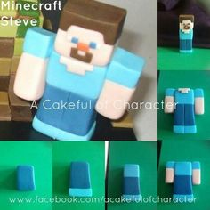 Shouldn't be too hard to make. Minecraft Torte, Minecraft Birthday Cake, Minecraft Skins, Fondant Toppers, Fondant Cakes, Cupcake Cakes, Cupcakes, Mindcraft Cakes, Cake Templates