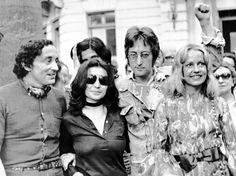 Louis Malle, Yoko Ono, John Lennon, and Jeanne Moreau at the 1971 Cannes Film Festival.