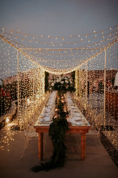 Under a canopy of twinkling fairy lights, this magical wedding in Santorini on a terrace overlooking the ocean is the destination wedding of our dreams! - A Magical Wedding in Santorini Under a Canopy of Fairy Lights ⋆ Ruffled Romantic Dinner Setting, Romantic Dinners, Romantic Picnics, Romantic Getaways, Romantic Travel, Romantic Weddings, Magical Wedding, Perfect Wedding, Dream Wedding