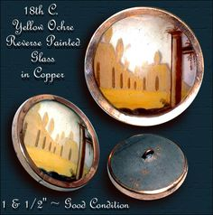 18th C. Subject Under Glass in Copper Button  ~ R C Larner Buttons at eBay  http://stores.ebay.com/RC-LARNER-BUTTONS