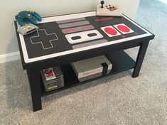 Nintendo Custom NES Retro Video Game Controller Coffee Table The Effective Pictures We Offer You About Video Games xbox A quality picture can tell you many things. Video Game Decor, Video Game Rooms, Video Game Table, Teen Game Rooms, Video Game Bedroom, Retro Videos, Retro Video Games, Game Room Decor, Room Setup
