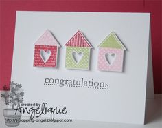 Bits and pieces of my life: StampinUp - SU! Inkt, text Stamp and Cardstock Card Making Inspiration, Making Ideas, Housewarming Card, New Home Cards, Happy New Home, Beautiful Handmade Cards, Scrapbook Cards, Scrapbooking, Creative Cards