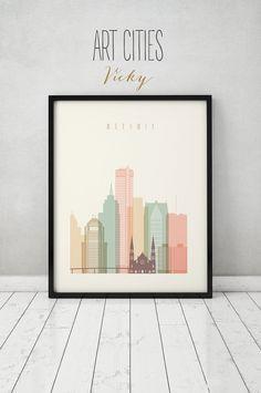 Detroit print, Poster, Wall art, Michigan cityscape, Detroit skyline, City poster, Typography art, Home Decor Digital Print ART PRINTS VICKY