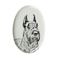 Schnauzer Cropped, oval gravestone from ceramic tile with an image of a dog >>> Check this awesome product by going to the link at the image. (This is an affiliate link and I receive a commission for the sales)