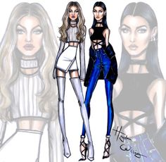 gigi hadid sketches by hayden williams | Stylish Siblings: Gigi & Bella by Hayden Williams