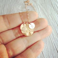 Dainty Rose Gold Family Tree Initials Necklace