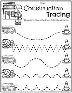 Looking for fun Preschool Construction Theme Activities for kids? Check out these 16 Hands-On Construction Learning Activities and Crafts for Preschool or Kindergarten. Preschool Writing, Preschool Learning Activities, Free Preschool, Preschool Lessons, Preschool Activities, Transportation Activities For Preschoolers, Preschool Tracing Worksheets, Vocabulary Activities, Construction Theme Preschool