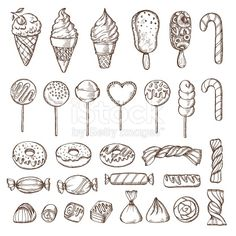 Hand drawn set of candies, cake pops, ice cream and donuts. Retro… Hand drawn set of candies, cake pops, ice cream and donuts. Retro vintage vector illustration in style of engraving. Candy Drawing, Cupcake Drawing, Food Drawing, Tatuagem One Piece, Candy Tattoo, Retro Vintage, Doodles, Vintage Embroidery, Doodle Art