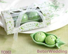 Due piselliin un baccello di sale e pepe shaker( 12pcs, 6set) tc002 uso come nozze regali e souvenir di nozze