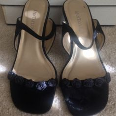 Black Ann loft heels Adorable bow detail, great for the holidays.  Velvet material with leather upper and lining. Very gently used, maybe 2x. Ann Taylor Shoes Heels