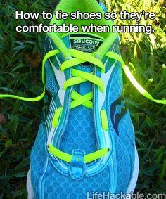 How to tie a sneaker so it is comfortable when running - genius!