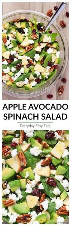Apple Avocado Spinach Salad - Easy, healthy and ready in just 10 minutes!   Recipe at EverydayEasyEats.com