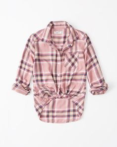 Cozy long-sleeve plaid shirt can be worn tied or untied. Embroidered logo on left-chest pocket. Plaid Shirt Outfits, Plaid Shirts, Pink Kids, Shirts For Girls, Girl Outfits, Men Casual, My Style, Long Sleeve