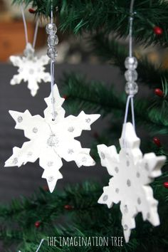 """Make white clay snowflake ornaments with bicarbonate of soda, cornflour & water - from The Imagination Tree ("""",)"""