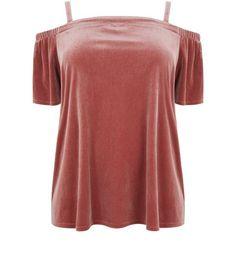 Curves Pink Velvet Bardot Top | New Look