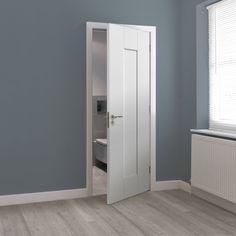 Alabama Cinza contemporary dark grey walnut wood effect laminate, internal door with a recessed central panel. Gray Painted Walls, Painted Doors, Grey Walls, Hallway Colour Schemes, Hallway Colours, Wall Colours, Paint Colours, Grey Internal Doors, Grey Doors