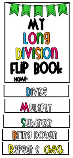 long division flip book - blog post describes how to use with students