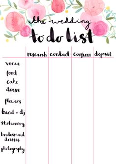 the wedding to do list (a free printable by Emma Block)