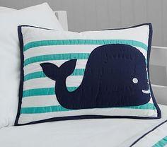 Hamptons Whale Decorative Sham, Navy/Aqua