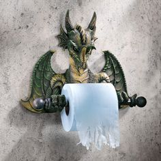 Gothic Medieval Flair Dragon Wall Mounted Bathroom Toilet Tissue Paper Holder #Dragon