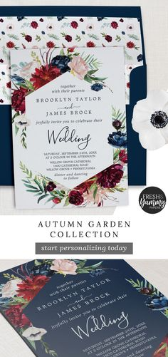 Autumn Garden Collection by Fresh and Yummy Paperie. The floral wedding invitation features stunning navy, blush pink, red and burgundy watercolor flowers, blossoms and green leaves arranged in a lively fall arrangement. Click to customize and purchase yours today. Exclusively on Zazzle.com. #freshandyummypaperie #weddings #weddinginvitations Burgundy Wedding Invitations, Beautiful Wedding Invitations, Fall Wedding Colors, Wedding Flowers, December Wedding Colors, January Wedding, Lace Wedding, Navy And Burgundy Wedding, Burgendy Wedding