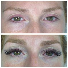 Eyelash extensions, before and after