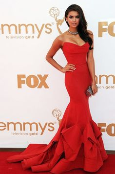 "Nina Dobrev. The ""Vampire Diaries"" star was a knockout in a strapless red mermaid gown by Donna Karan. Emmy Award  #fashion #Red Carpet"