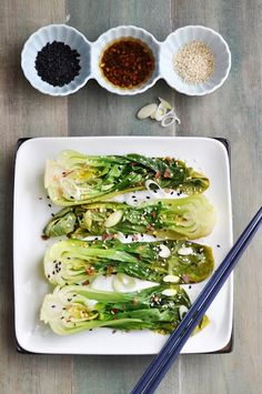 4 baby bok choy-steamed  1 tablespoon roasted sesame oil (can I replace this with a non-oil??)  2 tablespoon soy sauce  2 garlic cloves, crushed  1/2 teaspoon chili flakes  2 spring onions, thinly sliced  2 tablespoons sesame seeds