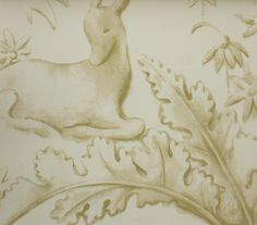 Sika Wall Panel A wide width wall panel with a large scale pastel chalk print of wild deer in a peaceful forest setting, printed in a warm beige on…