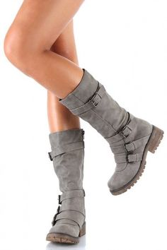 Combat Buckle Riding Mid Calf Boot $38.50! Finally a boot with some tread on the bottom!
