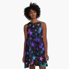 'Gorgeous wild jumping cheetahs and abstract violet plum color geometric triangle shapes.' A-Line Dress by IvyArtistic Halloween Patterns, Woman Face, Star Fashion, Women's Fashion, I Dress, Chic Outfits, Chiffon Tops, Designer Dresses, Fashion Dresses
