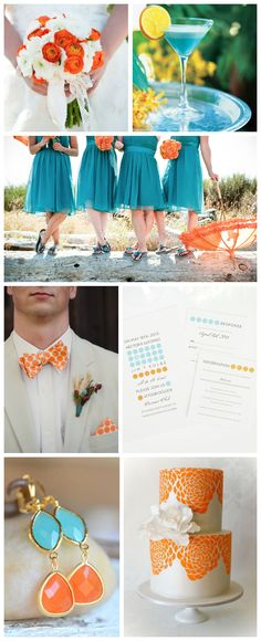 Blue and Orange Wedding Inspiration -- I would love this with turquoise and coral