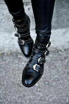 66cf12ba03a7 2017 Black Studded Buckle Boots Silver-tone studded women boots hardware  Four straps Ankle-high buffed calfskin boots