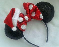 Patio Navidad Disney Polka Mickey Minnie Mouse Orejas Santa cinta del grosgrain