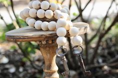 Wooden Beaded Garland with Antique Keys Chunky Beads