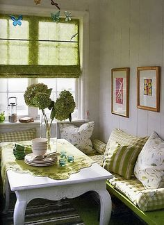Green, green, and more green! Picking a solid color scheme makes pattern clashing a cinch, as demonstrated in this garden themed dining area. Shop discount designer fabrics at FabricSeen.com and pull this look off for a fraction of the cost!