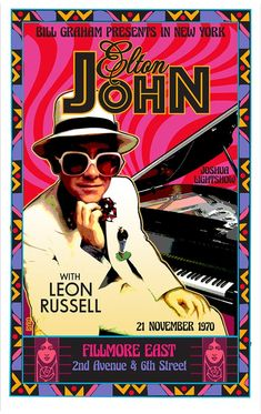 Elton John with Leon Russel Vintage Concert Posters, Vintage Posters, Retro Posters, Movie Posters, Poster Wall, Poster Prints, Gig Poster, Fillmore East, Rock Band Posters