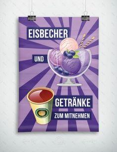 Eisbecher und Getränke zum mitnehmen - Werbeplakat - Poster, P-FP-0029E   Gastronomie   Plakate   Werbedesigns   Despri