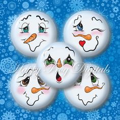 "Snowmen faces - Set 2 - 1.5"", 1"", 30 mm, 25 mm circles - Digital Collage Sheet - 300 HFD - Printable Download - Instant Download"