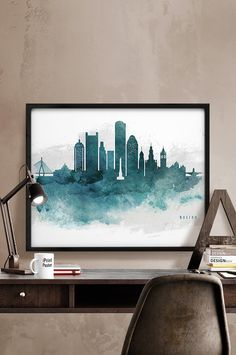 Hey, I found this really awesome Etsy listing at https://www.etsy.com/listing/253803232/boston-skyline-poster-watercolor-boston