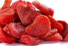 STRAWBERRIES DRIED IN THE OVEN:  TASTE LIKE CANDY, BUT ARE HEALTHY & NATURAL.   3 HRS AT 210 DEGREES.