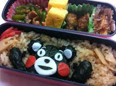 Twitter from @riekorin おはよう(^O^)お弁当はタケノコご飯で。今日のゆるキャラは熊本のくまモンで〜す♪ #kyaraben #obentoart